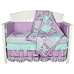 Purple Crib Bedding, Zoe 8-In-1 Baby Bedding Set by The Peanut Shell