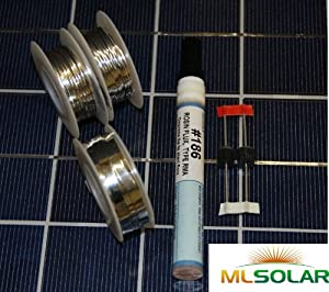 80' Solar Tabbing Wire 8' Bus Wire, Flux Pen, 2 Diodes from ML Solar