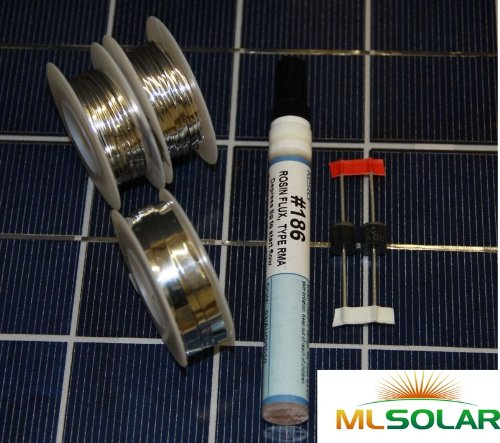 80' Solar Tabbing Wire 8' Bus Wire, Flux Pen, 2 Diodes