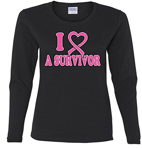 I Heart A Survivor Ladies Missy Fit long sleeve T-Shirt