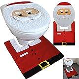 JEMIDI Weihnachts Toiletten WC Dekorations Set 2-teilg Nikolaus Deko (Weihnachtsmann)