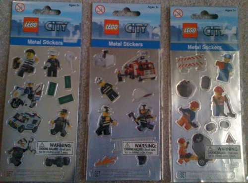 LEGO CITY Minifigure Metal Sticker Set of 3 packs
