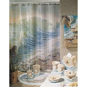 WATERS EDGE beach shore ocean sandpiper birds BATHROOM SHOWER CURTAIN fabric bath accessory home decor