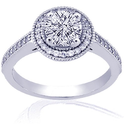 1.35 Ct Round Cut Halo Diamond Engagement Rings 