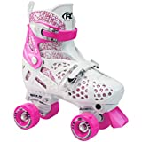 Roller Derby Girl's Trac Star Adjustable Roller Skate, White/Pink