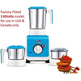 Ultra Stealth 750-Watt 3 Jar Mixer Grinder, 110 Volts (For Use In USA And Canada Only)