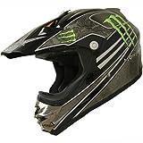 DOT Dirt Bike ATV Motocross Helmet Monster 162 black/green (Sm)