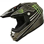DOT Dirt Bike ATV Motocross Helmet Monster 162 black/green (Large)