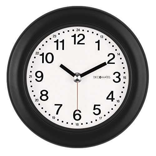 DecoMates Non-Ticking 24-Hour Silent Wall and Desk Clock, Black