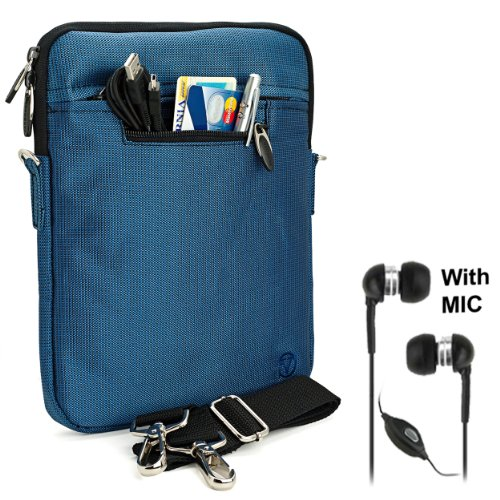 BLUE Mighty Nylon Jacket Slim Compact Protective Sleeve Shoulder Bag Case with accessories For T-Mobile G-Slate Android Tablet Computer Pad + Includes a eBigValue (TM) Determination Hand Strap + Includes a Crystal Clear HD Noise Filter Handsfree with Mic and Mute Button