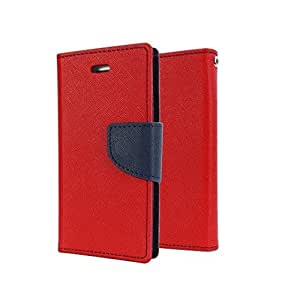 Rainbow Mercury Goospery FANCY Diary Card Wallet CASE Flip Cover for Sony Xperia M5 -Red
