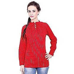 TUNTUK Women's Holi Top Red Cotton Top