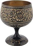 Shaw Sons Brass Handmade Black Wine Glass (5 x 5 x 11 cms, Black)
