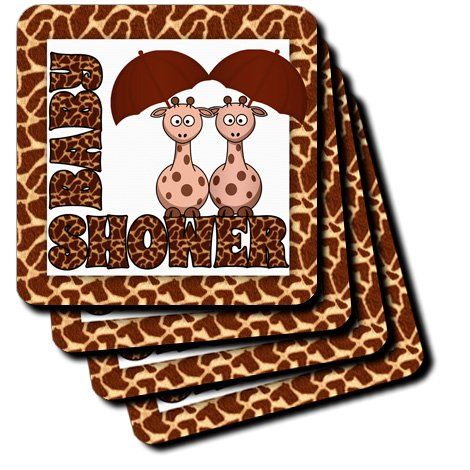 Cst_173040_1 Doreen Erhardt Baby Designs - Twins Gender Neutral Giraffe Jungle Baby Shower Theme - Coasters - Set Of 4 Coasters - Soft front-232949