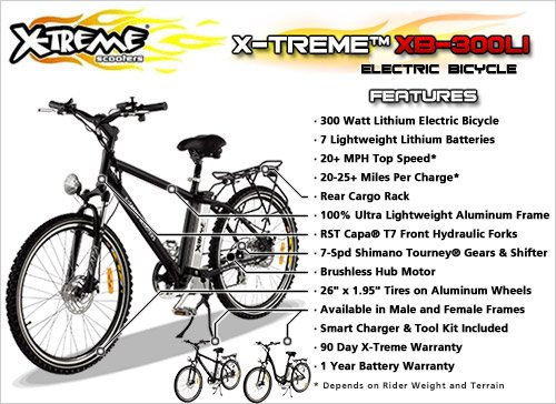 X-Treme Scooters XB-300Li Electric Variable Speed Bicycle