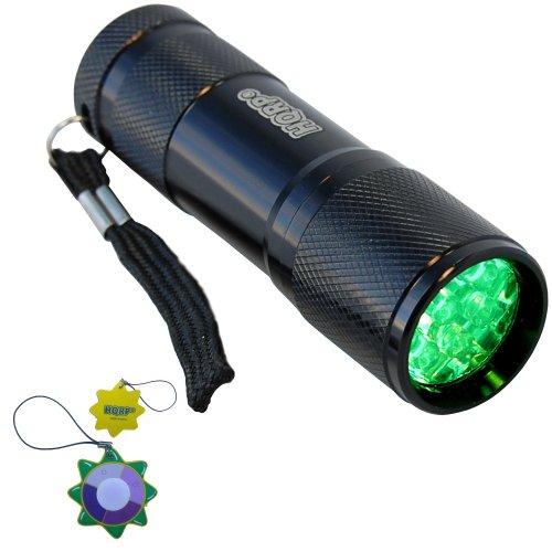 Hqrp Green Light 9 Led Portable / Pocket Flashlight Black Aluminum Body For Night Walking / Hunting / Fishing / Scorpions Searching / Night Activity Plus Hqrp Uv Meter