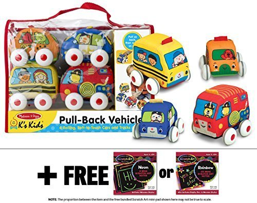 Ks-Kids-Pull-Back-Vehicle-Set-FREE-Melissa-Doug-Scratch-Art-Mini-Pad-Bundle-91688