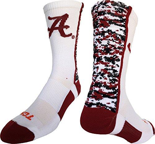 Alabama Crimson Tide Digital Camo Crew Socks (White/Crimson/Black, Large)