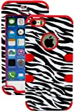 "myLife (TM) Vibrant Red and Black - Zebra Stripes Series (Neo Hypergrip Flex Gel) 3 Piece Case for iPhone 5/5S (5G) 5th Generation iTouch Smartphone by Apple (External 2 Piece Fitted On Hard Rubberized Plates + Internal Soft Silicone Easy Grip Bumper Gel + Lifetime Warranty + Sealed Inside myLife Authorized Packaging) ""Attention: This case comes grip easy smooth silicone that slides in to your pocket easily yet won't slip out of your hand"""