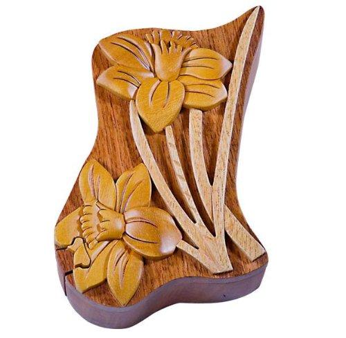 Cheap Fun Daffodil Flower – Secret Wooden Puzzle Box (B002P8RBWU)