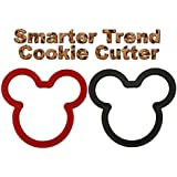 Cookie Cutters Cushioned Shape Set for Baby, Mom, Kids, Adults - Smarter Trend 2 Shapes Black and Red - Round Comfort Grip - Best Gift for Cookies, Sandwich, Christmas, Halloween, Bakeware, Food, Bread, Treats