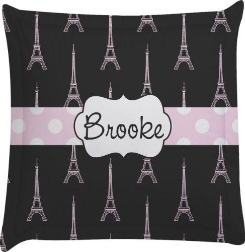 Black Eiffel Tower Personalized Euro Sham Pillow Case front-989690