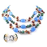 Triple Strand Necklace made of Freshwater Cultured Pearls, Cystals, Amber and Agate *** Augustina Jewelry Special Design !