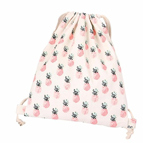 lookatool-women-pineapple-drawstring-beam-port-backpack-shopping-bag-travel-bag