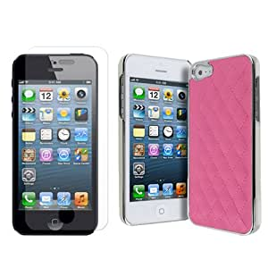 Designer Style Trendy iPhone 4 / iPhone 4s Quilted F Leather Case hot pink by iM