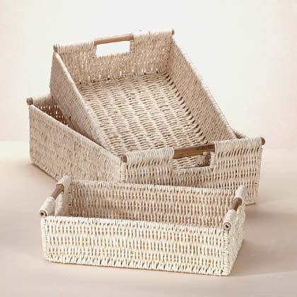Find Bargain Gifts & Decor Bamboo Handle Woven Corn Husk Nesting Basket, 3-Piece