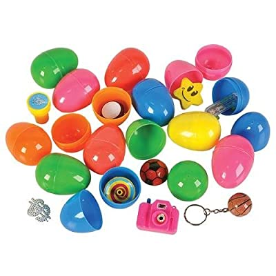 12 ~ Toy Filled Easter Eggs ~ Approx. 2.25 Inch ~ Assorted Color Eggs ~ New by Rhode Island Novelty