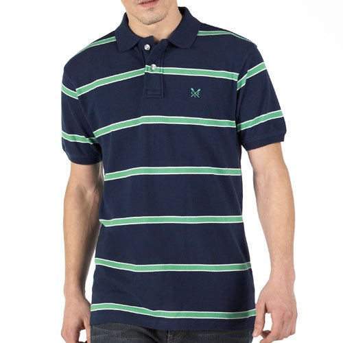 Crew Clothing Mens Striped Hythe Polo Navy/Green