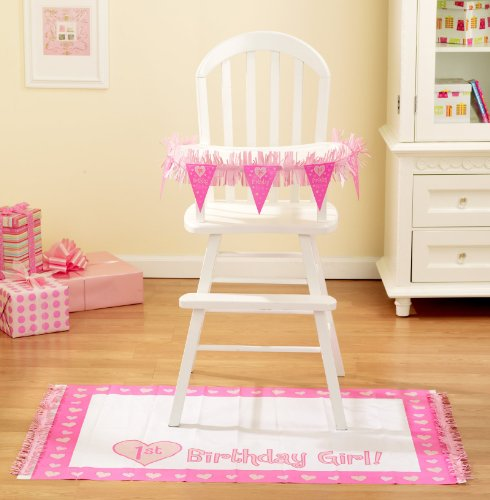 Baby Girl'S First Birthday High Chair Decorating Kit, 2Pc