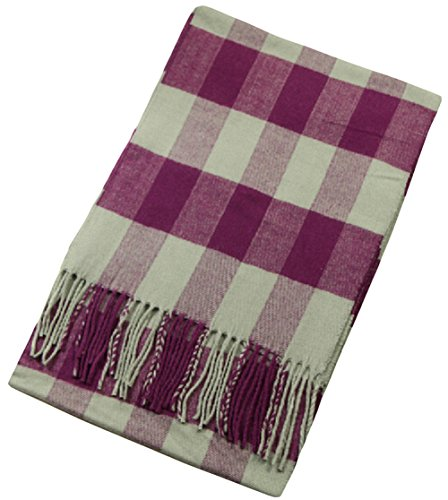 Yan.C Men'S Cotton Winter Check Comfy Unisex Wrap Stole Scarf Unisex Purple Grey