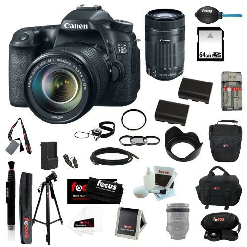 Canon Eos 70D Ef-S 18-55Mm Is Stm Kit + Canon Ef-S 55-250Mm F/4-5.6 Is Stm Lens + 64Gb Sd Hc Memory Card + 58Mm Digital Flower Lens Hood + Tiffen 58Mm Photo Essentials Kit + (2) Rechargeable Replacement Batteries For Canon + Accessory Kit
