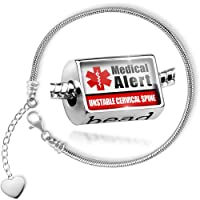 Charm Set Medical Alert Red UNSTABLE Cervical Spine - Bead comes with Bracelet , Neonblond by NEONBLOND