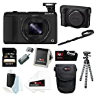Sony DSC-HX50V/B Cyber-shot 20.4MP High Zoom Digital Camera + with LCJHN/B Leather Jacket Case + Sony 16GB SDHC Class 10 High Speed SD Card + Focus Memory Card Reader-Writer + Case + Accessory Bundle