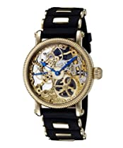 Rougois Hand Wind Gold Tone Skeleton Watch w/Blue Hands RG57