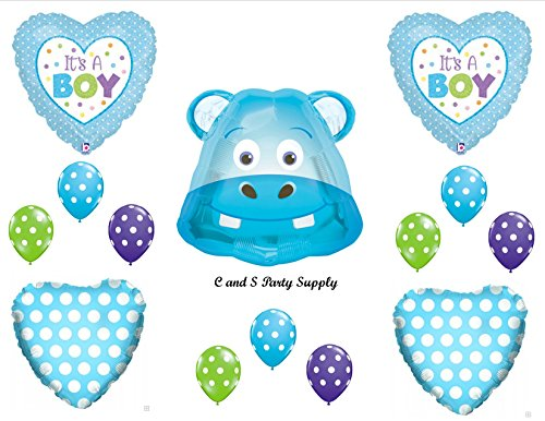It'S A Boy Hippo Baby Shower Balloons Decorations Supplies front-858165