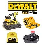 Dewalt DC725 Cordless 18v Volt Combi Hammer Drill With 1 x Battery DE9098, 1 Hour Charger DE9116 & 21 Piece Dewalt Accessory Kit