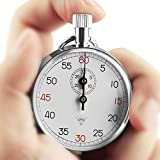 OneTigris 超可愛いメカニカルストップウォッチ 懐中式時計505 最小目盛(秒):1/10 クロノメーター シルバー プレゼント用 彫刻可能