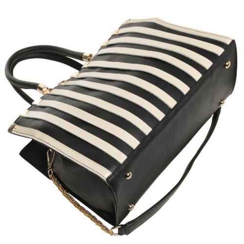 FADIA Chic Black and Beige Striped Studded Top Double Handle Office Tote Satchel Handbag Wrapped Chain Shoulder Bag