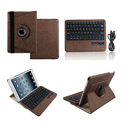 [Boriyuan] iPad mini4専用 Bluetoothキーボードカバー/キーボードケース iPad mini4保護ケース360度回転式 ワイヤレスキーボード 良質PUレザーケース Bluetooth3.0搭載 キーボード分離可能 スタンド機能 保護フィルムとタッチペン付き (360ブラウン)