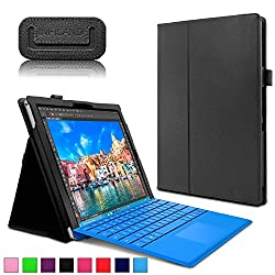 Microsoft Surface Pro 4 Case - Infiland Premium PU Leather Folio Stand Case Cover for Microsoft Surface Pro 4 12.3-inch Windows 10 Pro Tablet Only (Not Fit Microsoft Surface Pro 3 12-Inch), Black