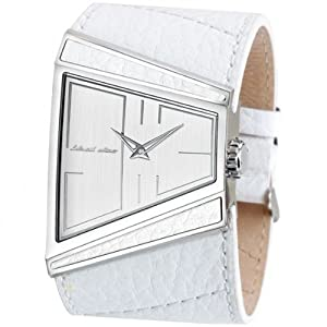 Black Dice Men's Hustle Genuine White Leather Strap Watch BD 003 03 With Stainless Steel Case Wrapped In Leather