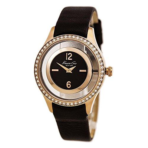 Kenneth Cole donna in pelle marrone band orologio analogico al quarzo acciaio custodia 10026950