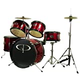 GP55 Child Size Junior Drum Set with Seat, Sticks and Cymbals - Red