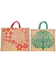 Saran Jute Bags Women's Multi Color Jute Handbag Combo - Pack Of 3 (SJB_62)