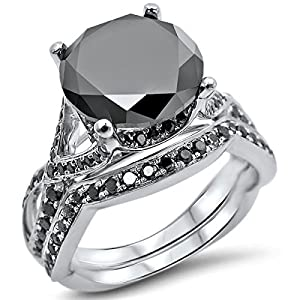 3.93ct Round Black Diamond Engagement Ring Bridal Wedding Set 14k White Gold