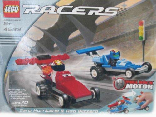 LEGO Racers Cero huracán y Rojo Set de coches de Blizzard, 4593, 70 piezas con Tire Motor Volver